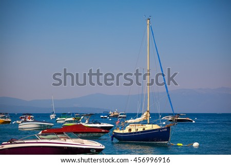 variety of yacht sailing boat docking port with copy space. - stock photo