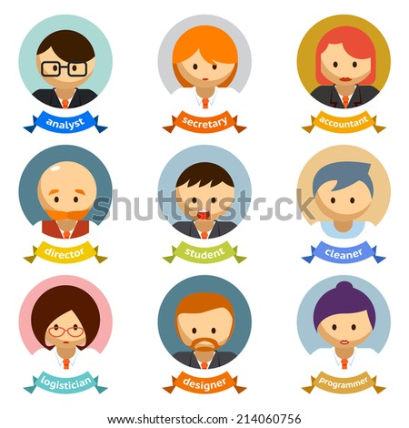 Variety Office Cartoon Character Avatars with Ribbons  Isolated on White Background. - stock photo
