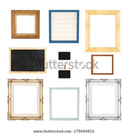 Variety style of picture frames set isolated on white background,Clipping path on each frame. - stock photo