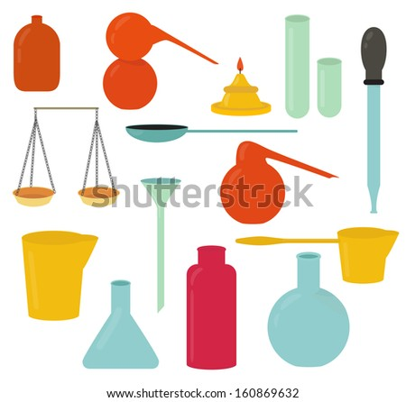 Various alchemy or retro medicine things illustration - stock photo