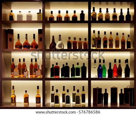 Backlit Bottles Glassware Behind Bar Known Stock Photo