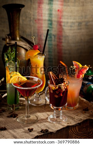 Various Alcoholic Freshness Cocktails Glass - stock photo
