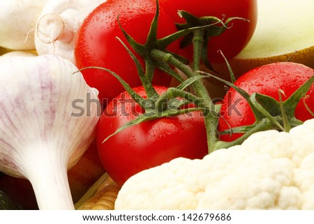 Various, assorted fruits and vegetables( Garlic, mushrooms, cauliflower, corn, maize, tomato, melon). Vibrant color. - stock photo