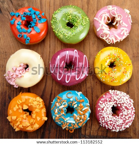 various baked donuts, sweet food - stock photo