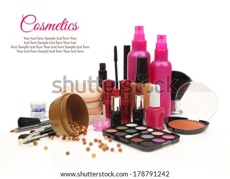 Various beauty products isolated on white background  - stock photo