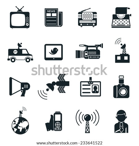 Various Black and White News and Media Icons Graphic Designs on White Background. - stock photo
