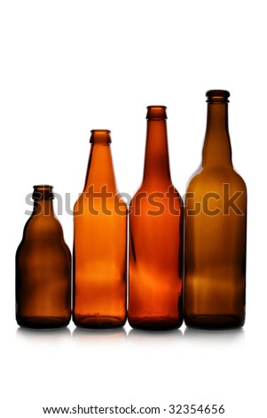 Various bottles isolated over the white background - stock photo