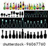 Various bottles with alcohol and glasses are collected in the set. EPS version is available as ID 90435943. - stock vector