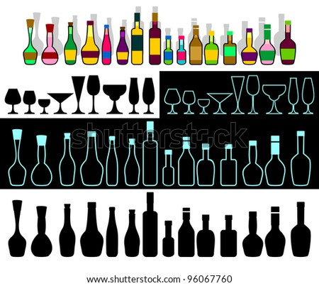 Various bottles with alcohol and glasses are collected in the set. EPS version is available as ID 90435943.