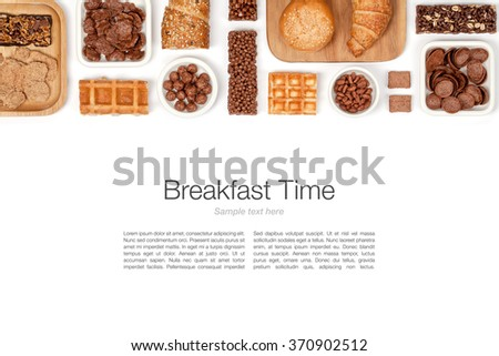 various breakfast cereals on white background top view - stock photo