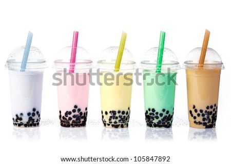 Various Bubble Tea in a row isolated on white background. - stock photo
