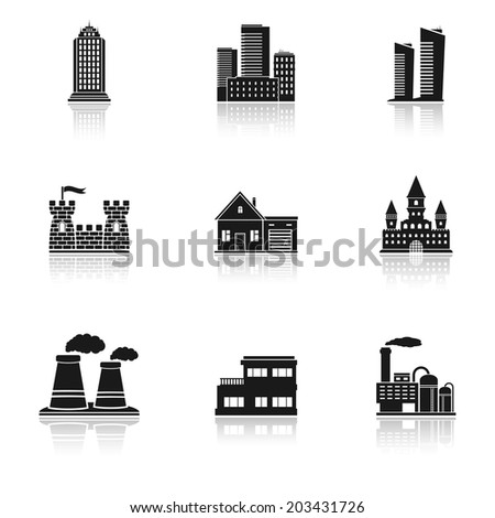 Various building icons isolated on white background - stock photo