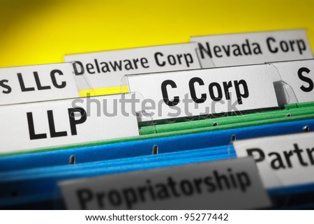 Various business organization types highlighted, LLP, C corporation - stock photo