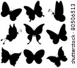 Various butterflies, black silhouettes on white background - stock vector
