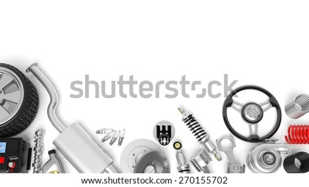 Various car parts and accessories, isolated on white background - stock photo
