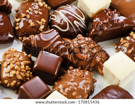 Various chocolates - dark, white, milk. Selective focus - stock photo