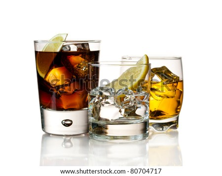 Various cocktails and drinks on white - stock photo