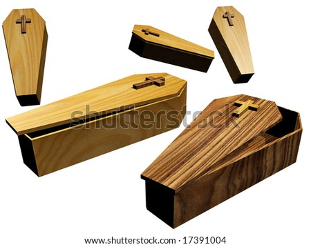 Various coffins isolated over a white background - stock photo