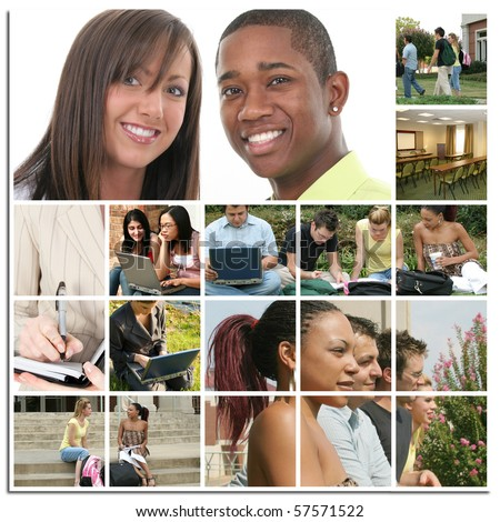 Various college students on campus in a collage. - stock photo