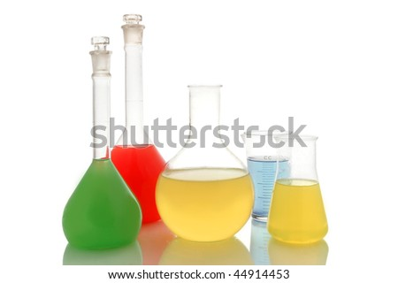 Various color chemical retorts on on white background