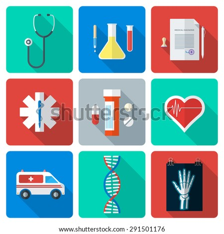 various color flat style medical icons with shadow - stock photo