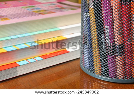 various color markers in holder