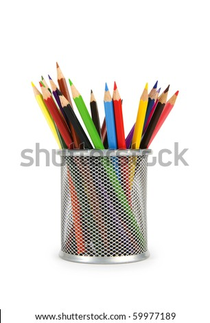 Various color pencils isolated on the white - stock photo