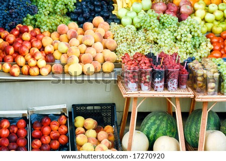 Various colorful fruits at market