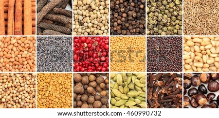 Various colorful spice seeds collage