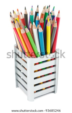 Various colour pencils isolated on the white - stock photo