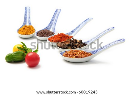 Various colourful spices on a white background - stock photo