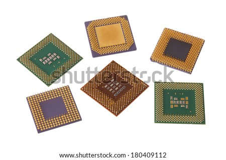 Various computer processors cut out on white background - stock photo