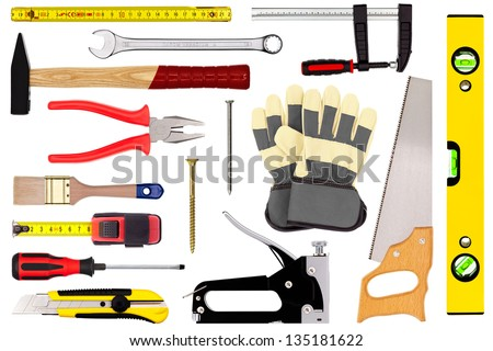 Various craftsman tools isolated on white background - stock photo