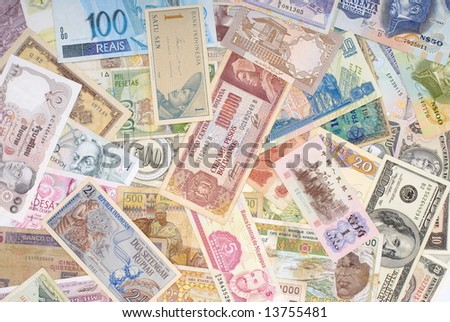 various currencies from countries spanning the World . - stock photo