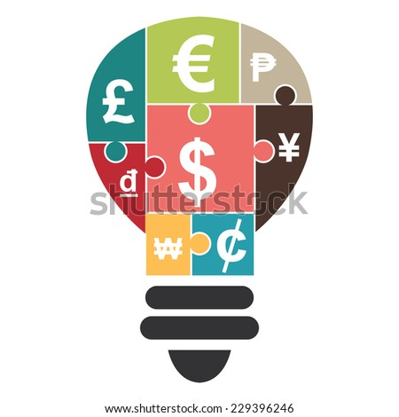 Various Currency Sign Puzzle in Light Bulb Icon Isolated on White Background  - stock photo
