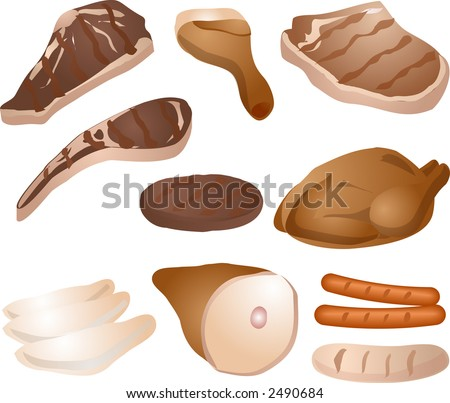 Various cuts of cooked meat: steak, drumstick, pork chop, lamb chop, burger, roast chicken / poultry, chicken breast, mutton leg, sausages. Roasted and grilled