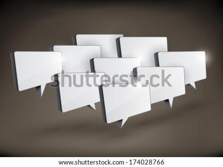 Various 3D rectangular speech bubbles arranged in a group - raster version of vector illustration - stock photo
