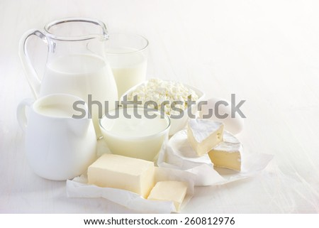 Various dairy products  on white background - stock photo