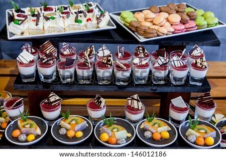 Various dessert buffet for celebrate. - stock photo