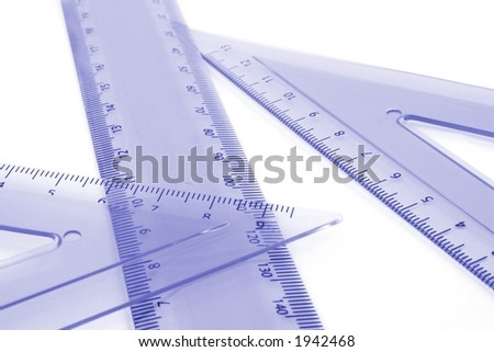 Various drawing equipment on a white background - stock photo