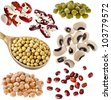 Various dried legumes haricot beans, Close up Collection isolated on white background - stock photo