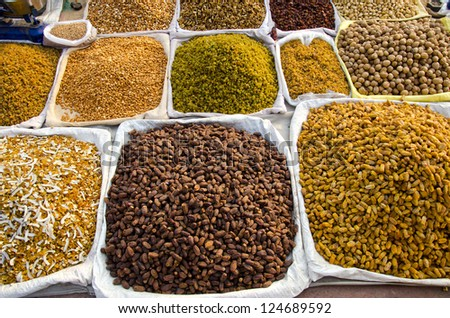 various dry fruits and nuts in India Delhi market