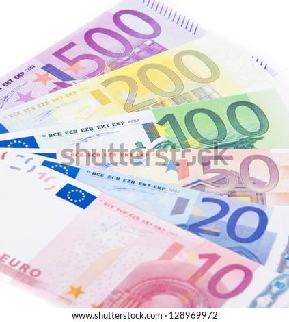 Various euro notes. All on white background. - stock photo