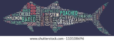 Various fish cuisines: text graphics