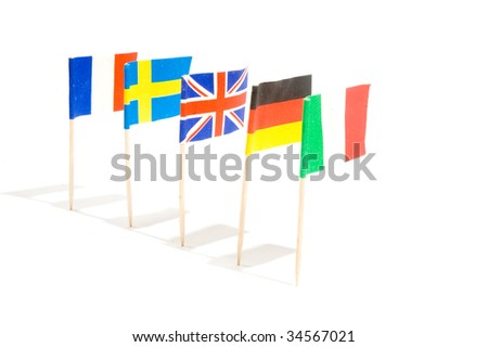 Various flags isolated on a white background
