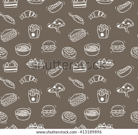 Various food doodle seamless background suitable for restaurant