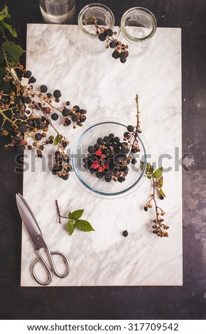 Various forest Fresh blackberry,cranberry, blueberry and other berries on jars plate over on a marble table . Rustic style from above. - stock photo