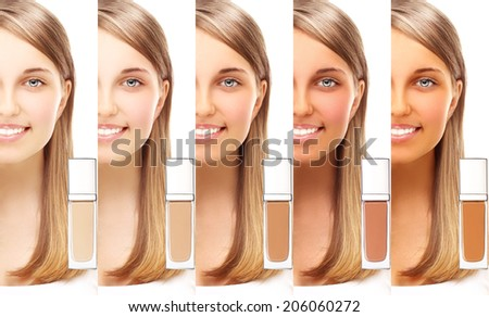 Various foundation cream. Model's face divided in parts - tanned and natural. - stock photo