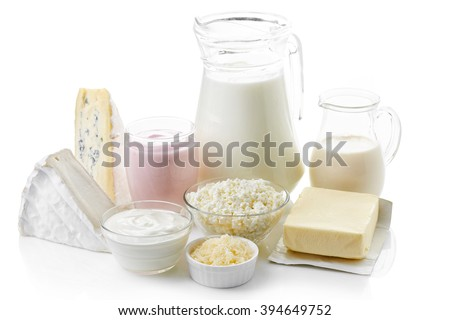 Various fresh dairy products isolated on white background - stock photo