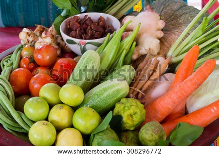 various fresh vegetable in local market